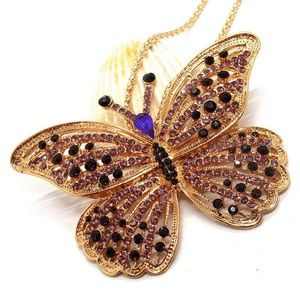 Purple Rhinestone Butterfly 🦋 Pendant Necklace